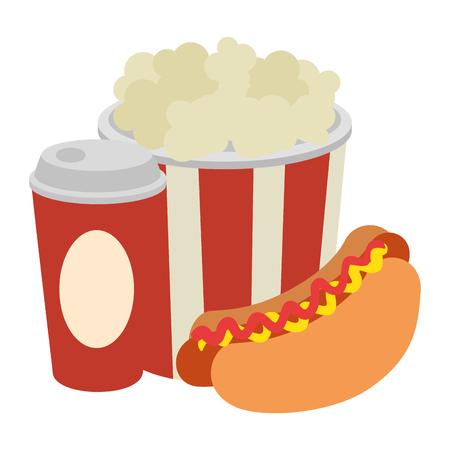 Delicioso hot dog con soda y palomitas de maíz, diseño de ilustraciones vectoriales