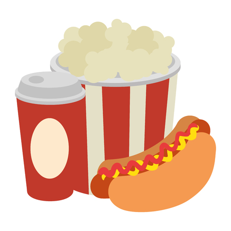 delicious hot dog with soda and pop corn vector illustration design Stock Illustratie