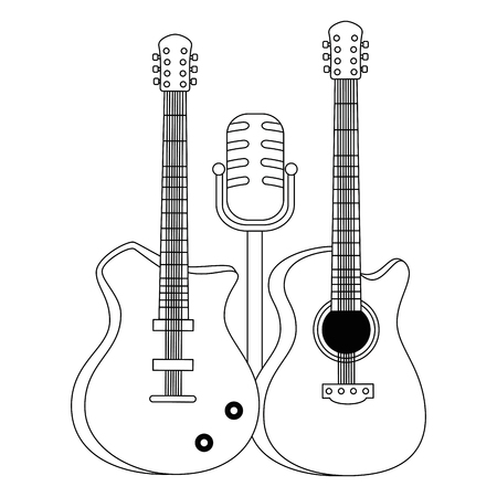 electric guitars and microphone musical instruments vector illustration
