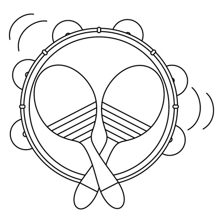 tambourine and maracas musical instruments vector illustration design Stock Illustratie