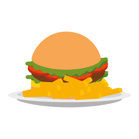 delicious burger and french fries vector illustration design Stock Photo