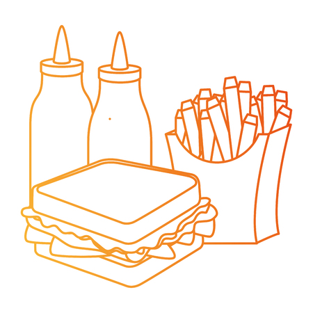 delicious sandwish with sauces and french fries vector illustration design Фото со стока
