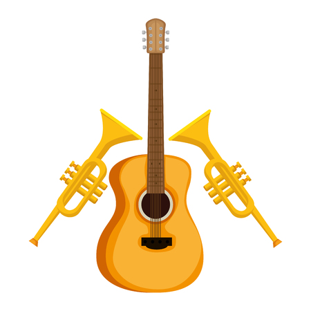 acoustic guitar and trumpets musical instrument vector illustration design
