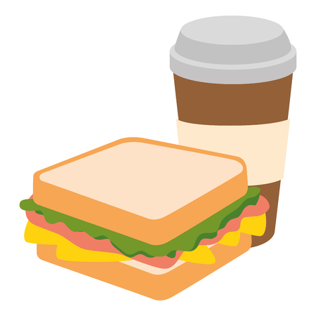 fresh and delicious sandwish with coffee vector illustration design