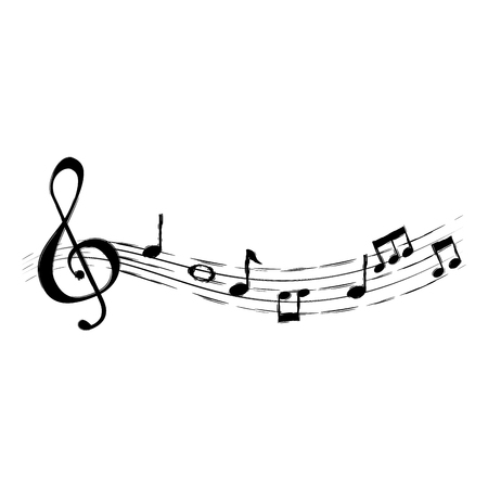 Partitura musical notas iconos, diseño de ilustraciones vectoriales