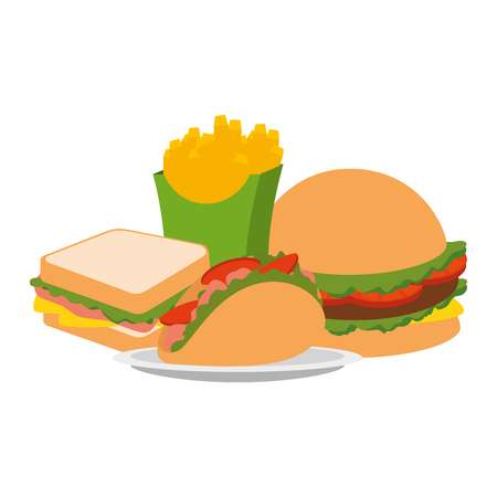 delicious fast food menu vector illustration design Stock Photo