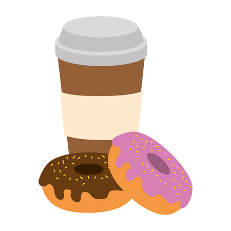 sweet donuts with coffee vector illustration design
