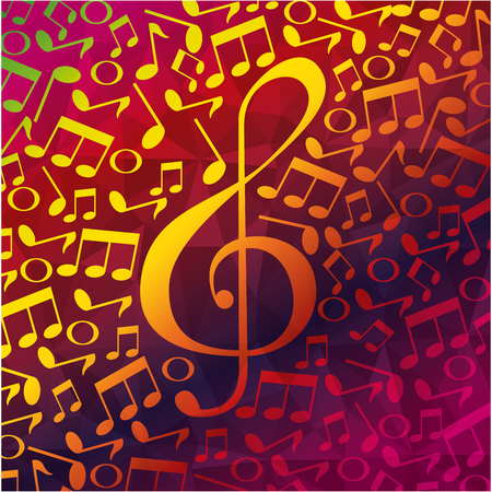 musical partiture notes pattern background vector illustration design
