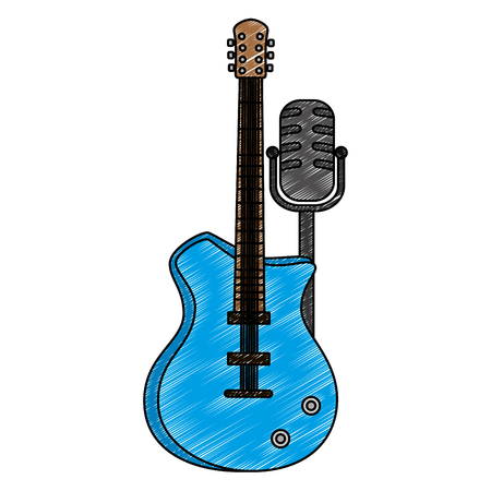 electric guitar with microphone musical instrument vector illustration Ilustracja
