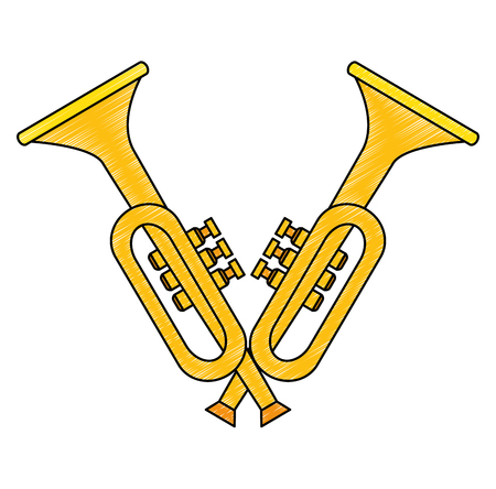 trumpets crossed instruments musical icon vector illustration design