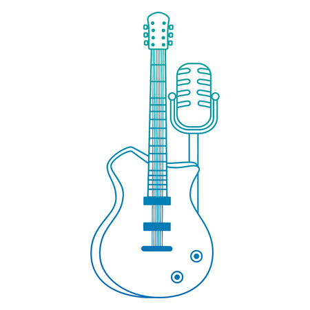 electric guitar with microphone musical instrument vector illustration Illustration
