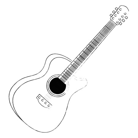 acoustic guitar musical instrument vector illustration design