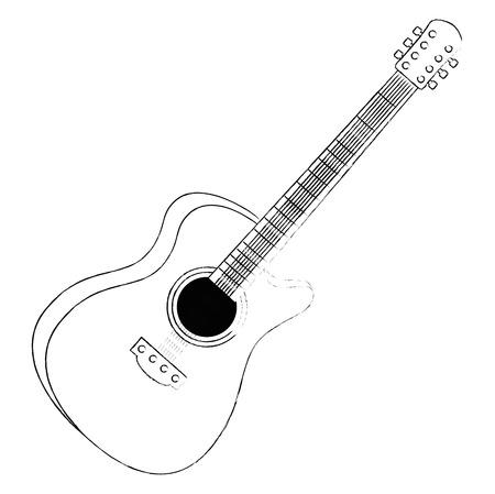 Chitarra acustica strumento musicale illustrazione vettoriale design Vettoriali