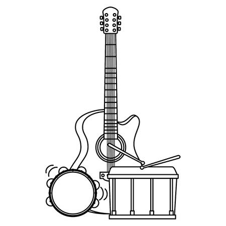 acoustic guitar with drum and tambourine vector illustration design