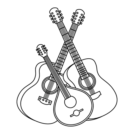 acoustic guitars with ukelele instruments vector illustration design