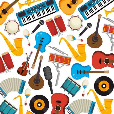 set musical instruments pattern background vector illustration design