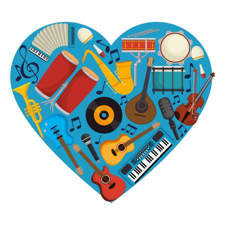 set instruments with heart shape pattern vector illustration design Illustration