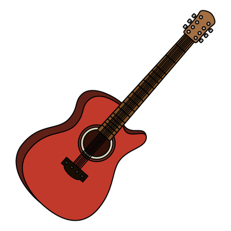 Instrumento musical de guitarra acústica, diseño de ilustraciones vectoriales