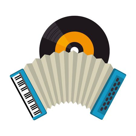 accordion with vinyl tropical music vector illustration design 일러스트