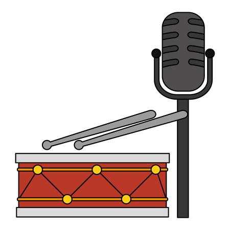 drum instrument with microphone vector illustration design