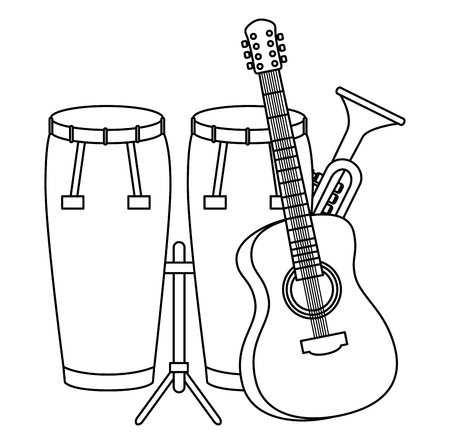 bongo drums with guitar and trumpet instruments vector illustration design
