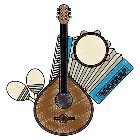 Fado-Gitarre mit Musikinstrumenten Vektor-Illustration Design Vektorgrafik
