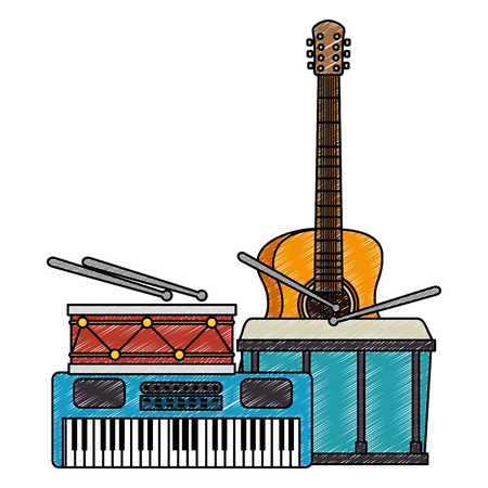 synthesizer with drums and guitar musical instruments vector illustration
