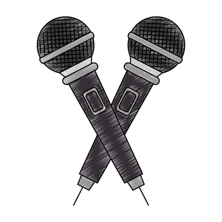 microphones crossed concert musical icon vector illustration design