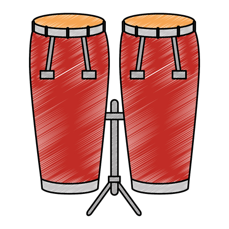 bongo drums tropical instrument vector illustration design Illustration