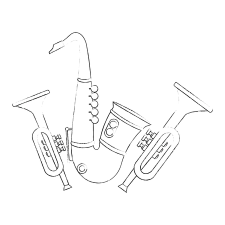 saxophone and trumpets musical instruments vector illustration design