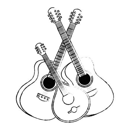 acoustic guitars with ukelele instruments vector illustration design