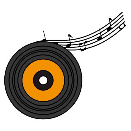 note di partitura musicale con disegno di illustrazione vettoriale in vinile