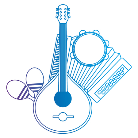 fado guitar with musical instruments vector illustration design Stock Illustratie