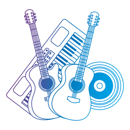 synthesizer with guitars and vinyl musical instruments vector illustration