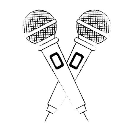 microphones crossed concert musical icon vector illustration design Illustration