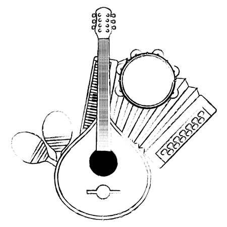 fado guitar with musical instruments vector illustration design Ilustração
