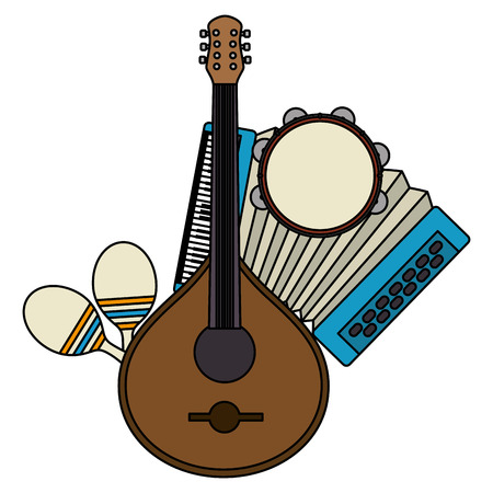 fado guitar with musical instruments vector illustration design Illustration