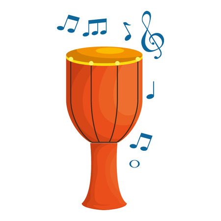 bongo drum with musical notes vector illustration design