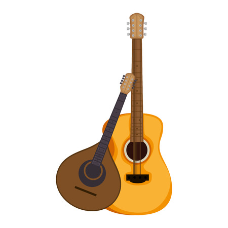 acoustic and fado guitar musical instruments vector illustration design 免版税图像 - 106561857