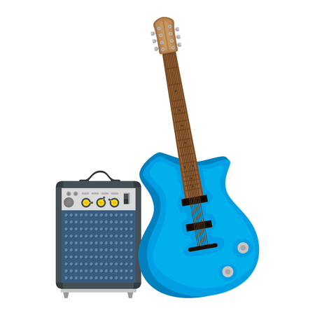 electric guitar with speaker vector illustration design