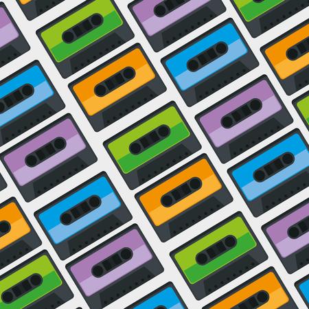 cassettes music pattern background vector illustration design