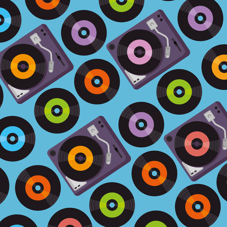vinyl turntable device pattern background vector illustration design