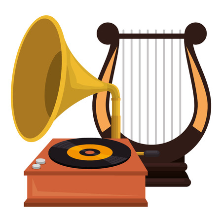 gramophone old fashion with harp vector illustration design 스톡 콘텐츠 - 111928657