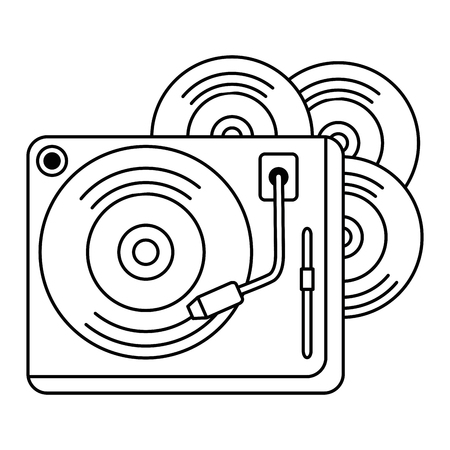 vinyl disks with turntable vector illustration design