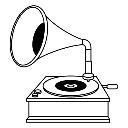 gramophone old fashion icon vector illustration design