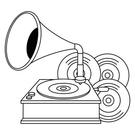 vinyl disks with gramophone vector illustration design
