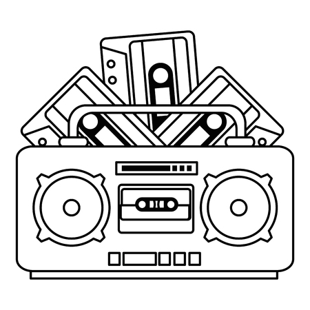radio music player with cassettes vector illustration design  イラスト・ベクター素材