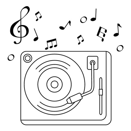 vinyl turntable with music notes vector illustration design Banque d'images - 106567398