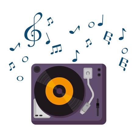 Vinyl-Plattenspieler mit Musiknoten-Vektor-Illustration-Design