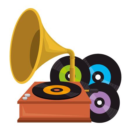 Vinylscheiben mit Grammophon-Vektorillustrationsdesign